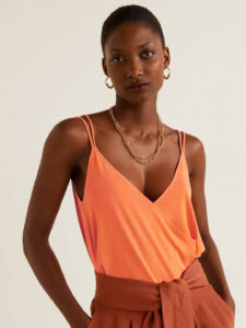 orange wrap top