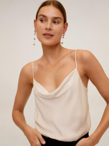 solid satin low cut top
